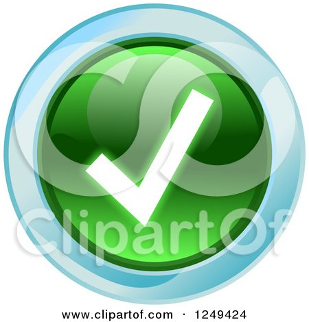 Clipart of a Round Green Check Mark Icon - Royalty Free Illustration by Prawny