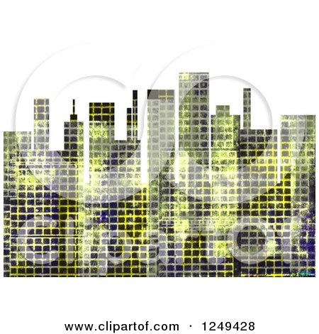 Clipart of a City Skyline with Distressed Grunge over White - Royalty Free Illustration by Prawny