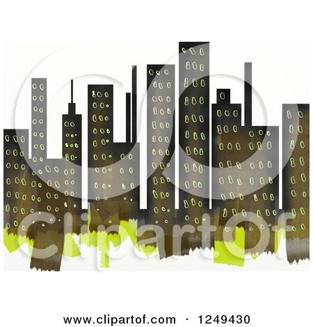Clipart of a Painted City Skyline over White - Royalty Free Illustration by Prawny