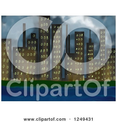 Clipart of a Waterfront City Skyline with Stormy Skies - Royalty Free Illustration by Prawny