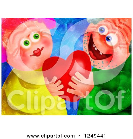 Clipart of a Painting of a Senior Couple Falling in Love Again - Royalty Free Illustration by Prawny