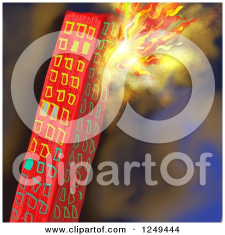 Clipart of a Skyscraper Building on Fire - Royalty Free Illustration by Prawny