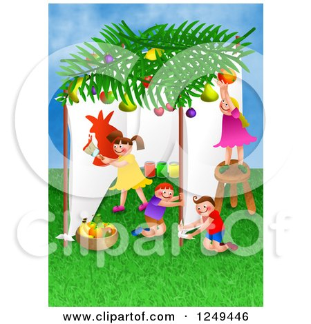 Clipart of Children Celebrating the Feast of Booths - Royalty Free Illustration by Prawny