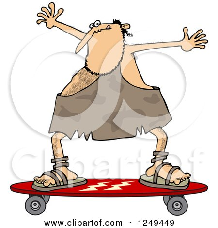 Skateboarding Caveman Holding His Arms up Posters, Art Prints