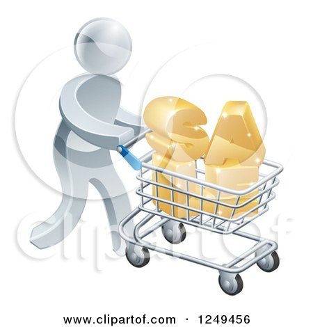 Clipart of a 3d Silver Man Pushing SALE in a Shopping Cart - Royalty Free Vector Illustration by AtStockIllustration