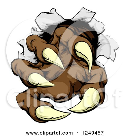 Clipart Of Brown Monster Claws Breaking Through Metal Royalty Free Vector Illustration