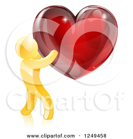 Clipart of a 3d Gold Man Holding a Red Heart - Royalty Free Vector Illustration by AtStockIllustration