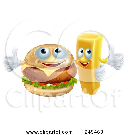 Clipart of a Happy Cheeseburger and French Fry Holding Thumbs up - Royalty Free Vector Illustration by AtStockIllustration