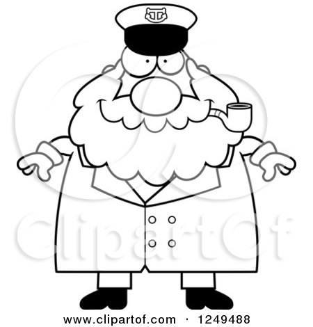 Clipart of a Black and White Happy Chubby Sea Captain Man Smoking a Pipe - Royalty Free Vector Illustration by Cory Thoman