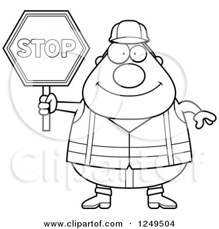 Construction Worker Clipart Black And White Clipart of a Black And White