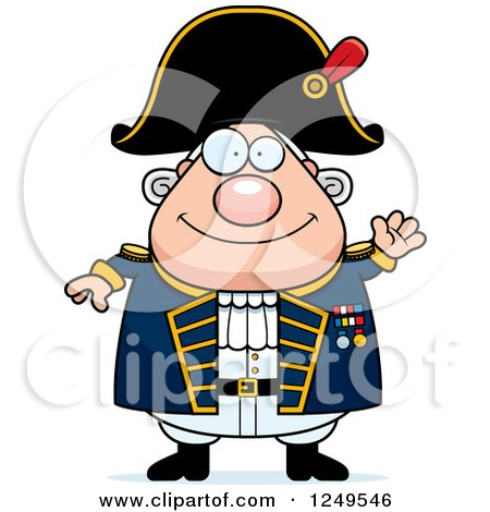 Clipart of a Friendly Waving Chubby Old Admiral Man - Royalty Free Vector Illustration by Cory Thoman