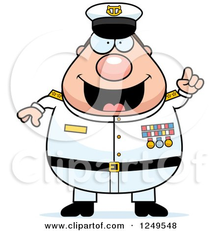 Clipart of a Smart Chubby Navy Admiral Man with an Idea - Royalty Free Vector Illustration by Cory Thoman