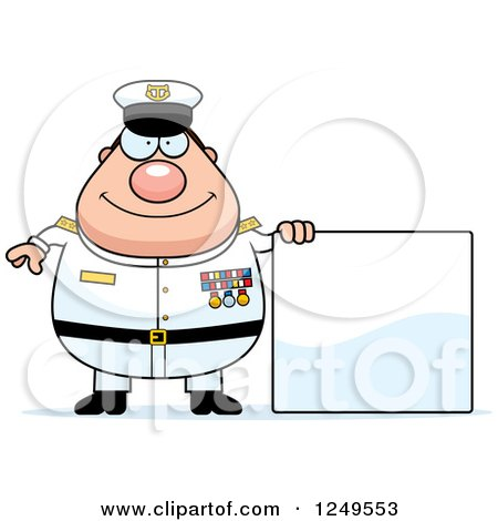 Clipart of a Happy Chubby Navy Admiral Man by a Blank Sign - Royalty Free Vector Illustration by Cory Thoman