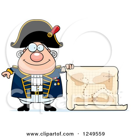 Clipart of a Happy Chubby Old Admiral Man Holding a Map - Royalty Free Vector Illustration by Cory Thoman