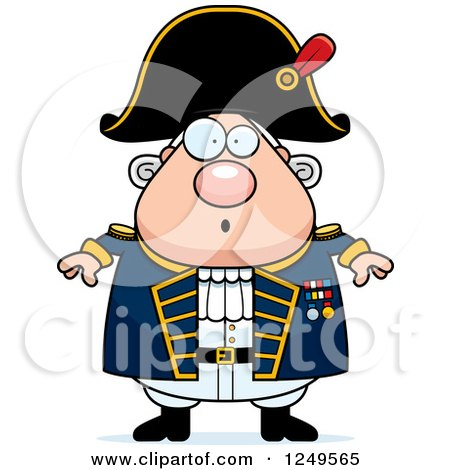 Clipart of a Surprised Gasping Chubby Old Admiral Man - Royalty Free Vector Illustration by Cory Thoman