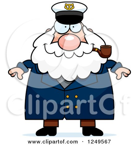 Clipart of a Happy Chubby Sea Captain Man Smoking a Pipe - Royalty Free Vector Illustration by Cory Thoman