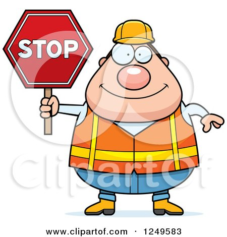 Clipart of a Happy Chubby Road Construction Worker Man Holding a Stop Sign - Royalty Free Vector Illustration by Cory Thoman
