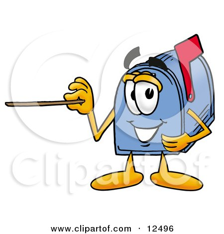 Blue Postal Mailbox Cartoon Character Holding a Pointer Stick Posters, Art Prints