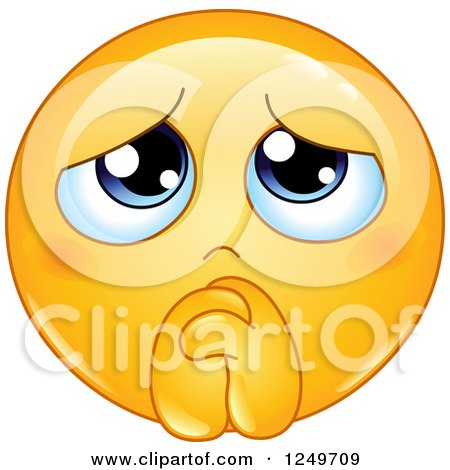 Clipart of a Yellow Emoticon Smiley Begging and Pleading - Royalty Free Vector Illustration by yayayoyo