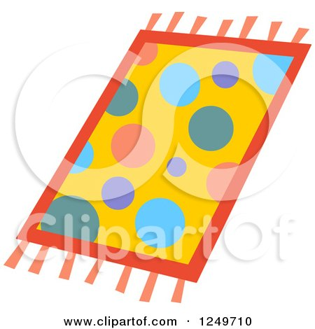 Clipart of a Colorful Polka Dot Rug - Royalty Free Vector Illustration by yayayoyo
