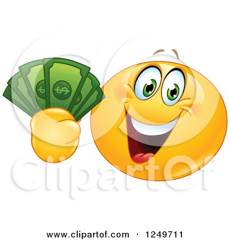 Clipart of a Yellow Emoticon Smiley Holding up Cash Money - Royalty Free Vector Illustration by yayayoyo