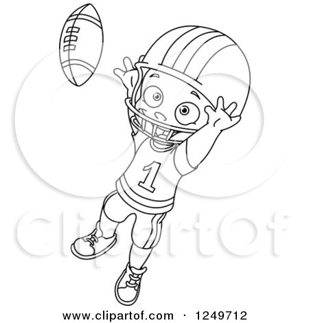 Clipart of a Black and White Little Boy Catching a Football - Royalty Free Vector Illustration by yayayoyo