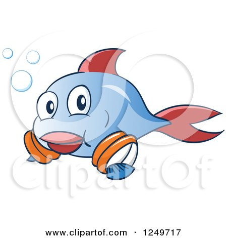 Clipart of a Cute Blue and Red Fish Leanring to Swim with Arm Floaties - Royalty Free Vector Illustration by Holger Bogen