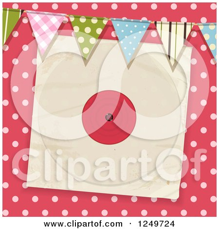 Clipart of a Pink Polka Dot Background with Party Flags and a Vinyl Record Sleeve - Royalty Free Vector Illustration by elaineitalia