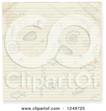 Clipart of a Piece of Ruled Paper with Doodled Sea Life - Royalty Free Vector Illustration by elaineitalia