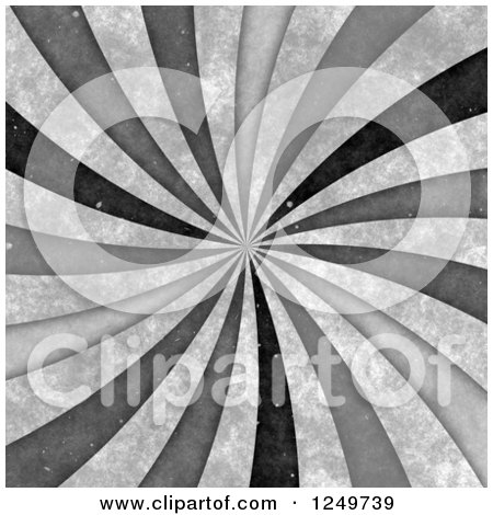 Clipart of a Distressted Spiraling Grayscale Ray Background - Royalty Free Illustration by Arena Creative