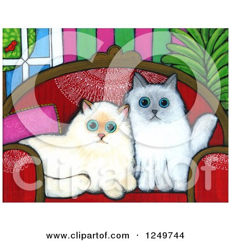 Clipart of a Canvas Painting of Cute Alert Himalayan Cats on a Sofa - Royalty Free Illustration by Maria Bell