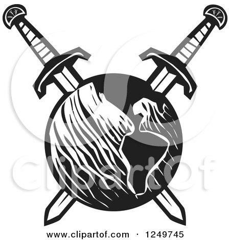 Clipart of a Black and White Woodcut Earth Impaled with Crossed Swords - Royalty Free Vector Illustration by xunantunich