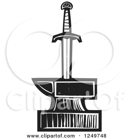 Clipart of a Black and White Woodcut Sword in an Anvil - Royalty Free Vector Illustration by xunantunich