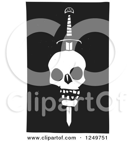 Clipart of a Black and White Woodcut Human Skull Impaled with a Sword - Royalty Free Vector Illustration by xunantunich