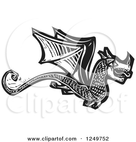 Clipart of a Black and White Woodcut Flying Dragon - Royalty Free Vector Illustration by xunantunich