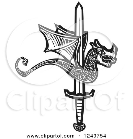Clipart of a Black and White Woodcut Dragon over a Sword up - Royalty Free Vector Illustration by xunantunich