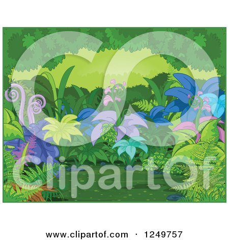 Clipart of a Background of Exotic Plants in a Forest, with a Green Border - Royalty Free Vector Illustration by Pushkin