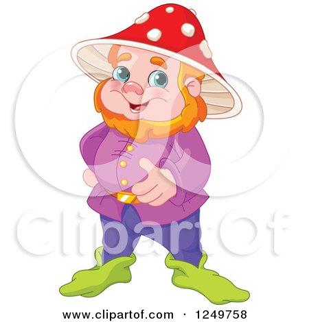 Clipart of a Happy Red Haired Male Gnome with a Mushroom Hat - Royalty Free Vector Illustration by Pushkin