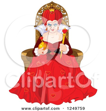 Clipart of a Mean Queen of Hearts Sitting on a Throne - Royalty Free Vector Illustration by Pushkin