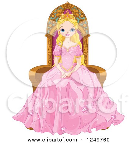 Clipart of a Blond Princess in a Pink Gown, Sitting in a Chair - Royalty Free Vector Illustration by Pushkin