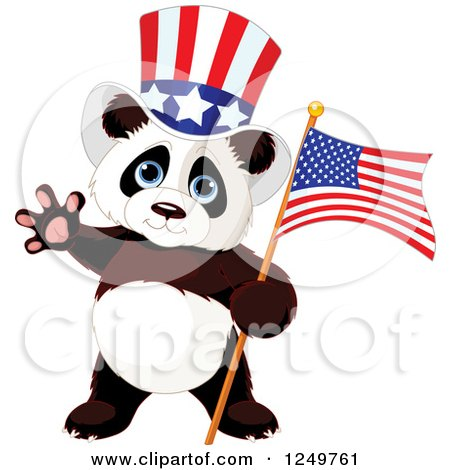 Clipart of a Cute Patriotic Panda with an American Flag and Top Hat - Royalty Free Vector Illustration by Pushkin