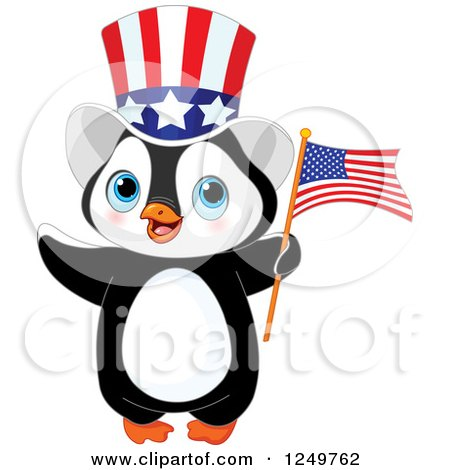 Clipart of a Cute Patriotic Penguin with an American Flag and Top Hat - Royalty Free Vector Illustration by Pushkin