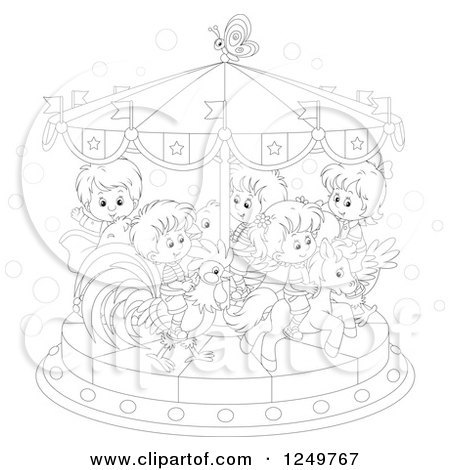 Clipart of Black and White Children Riding Animals on a Carousel - Royalty Free Vector Illustration by Alex Bannykh