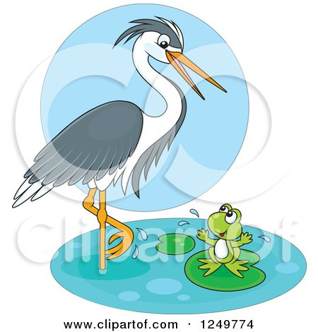 Clipart of a Wading Heron Bird Talking to a Happy Frog on a Lily Pad - Royalty Free Vector Illustration by Alex Bannykh
