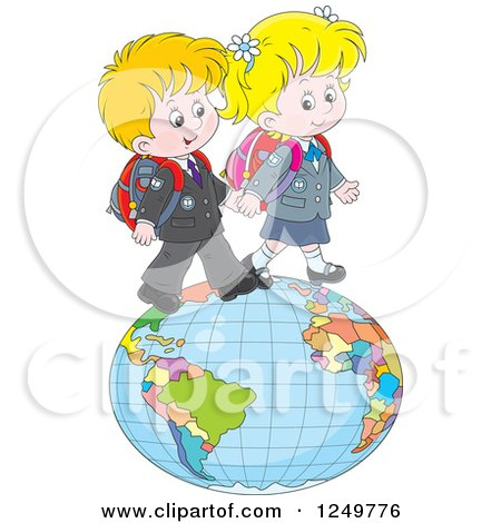 Clipart of Blond School Children Walking on a Globe - Royalty Free Vector Illustration by Alex Bannykh