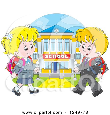Clipart of Blond School Children Walking to a Building - Royalty Free Vector Illustration by Alex Bannykh