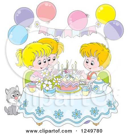 Clipart of Blond Children and a Cat Celebrating a Birthday - Royalty Free Vector Illustration by Alex Bannykh