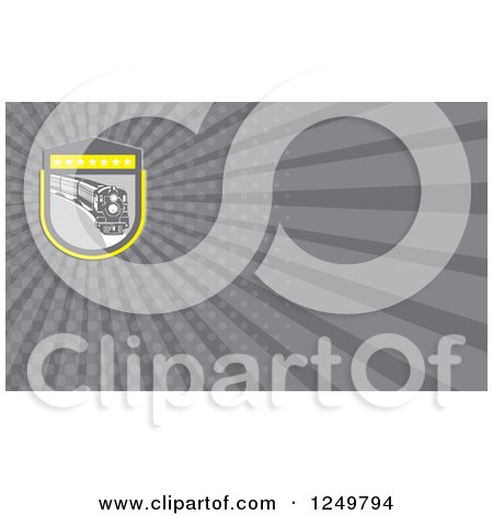 Clipart of a Steam Train and Ray Business Card Design - Royalty Free Illustration by patrimonio
