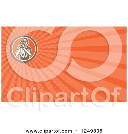 Clipart of a Woodcut Filming Cameraman and Ray Business Card Design - Royalty Free Illustration by patrimonio