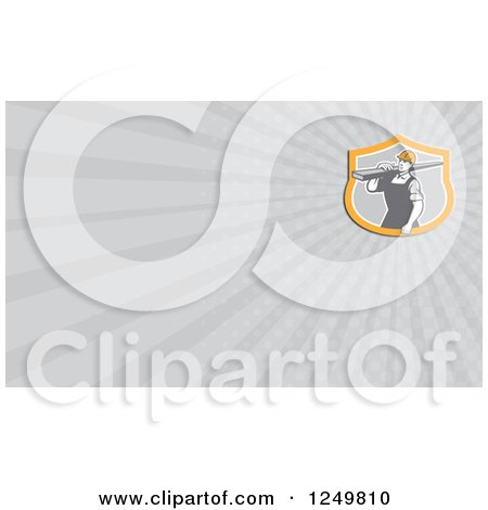Construction Worker with a Board and Ray Business Card Design Posters, Art Prints